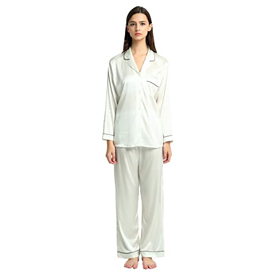Ladies  Pure Silk Pyjamas Ivory (S(10-12))  Amazon.co.uk  Clothing 7e3050d50