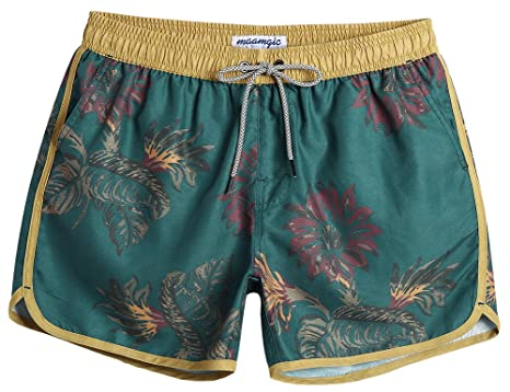 3b47f7af6e5e7 MaaMgic Mens Boys Short 80s 90s Vintage Swim Trunks with Mesh Lining Quick  Dry Swimming Trunks
