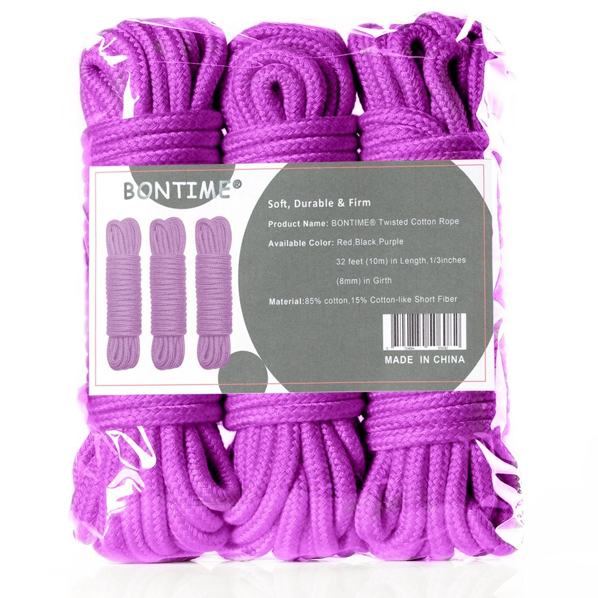 BONTIME All-Purpose Soft Cotton Rope - 32 Feet Length,1/3-Inch Diameter (Purple,Pack of 3) by BONTIME (Image #7)