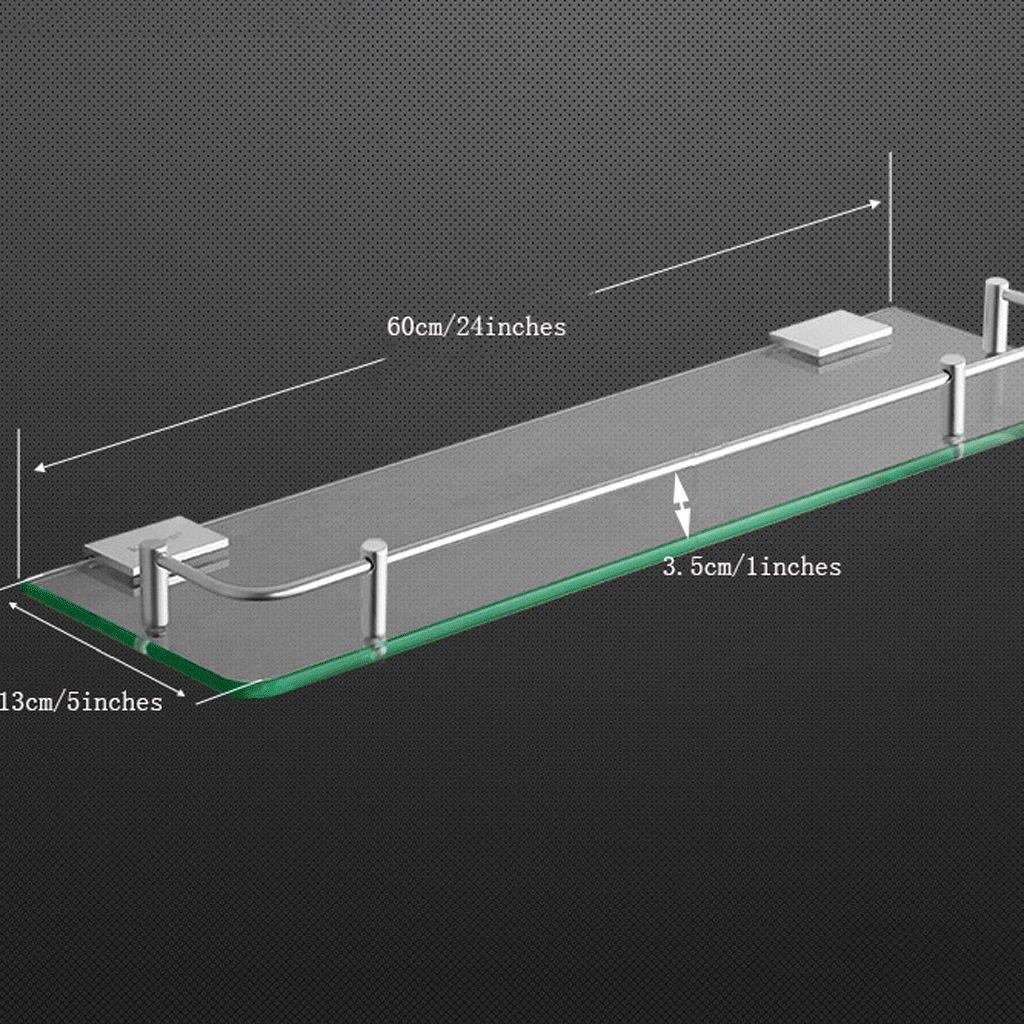 YXN Space Aluminum Bathroom Shelf Glass Shelf Bathroom Square Single Layer Metal Pendant Corner Dresser (Size : 60cm)