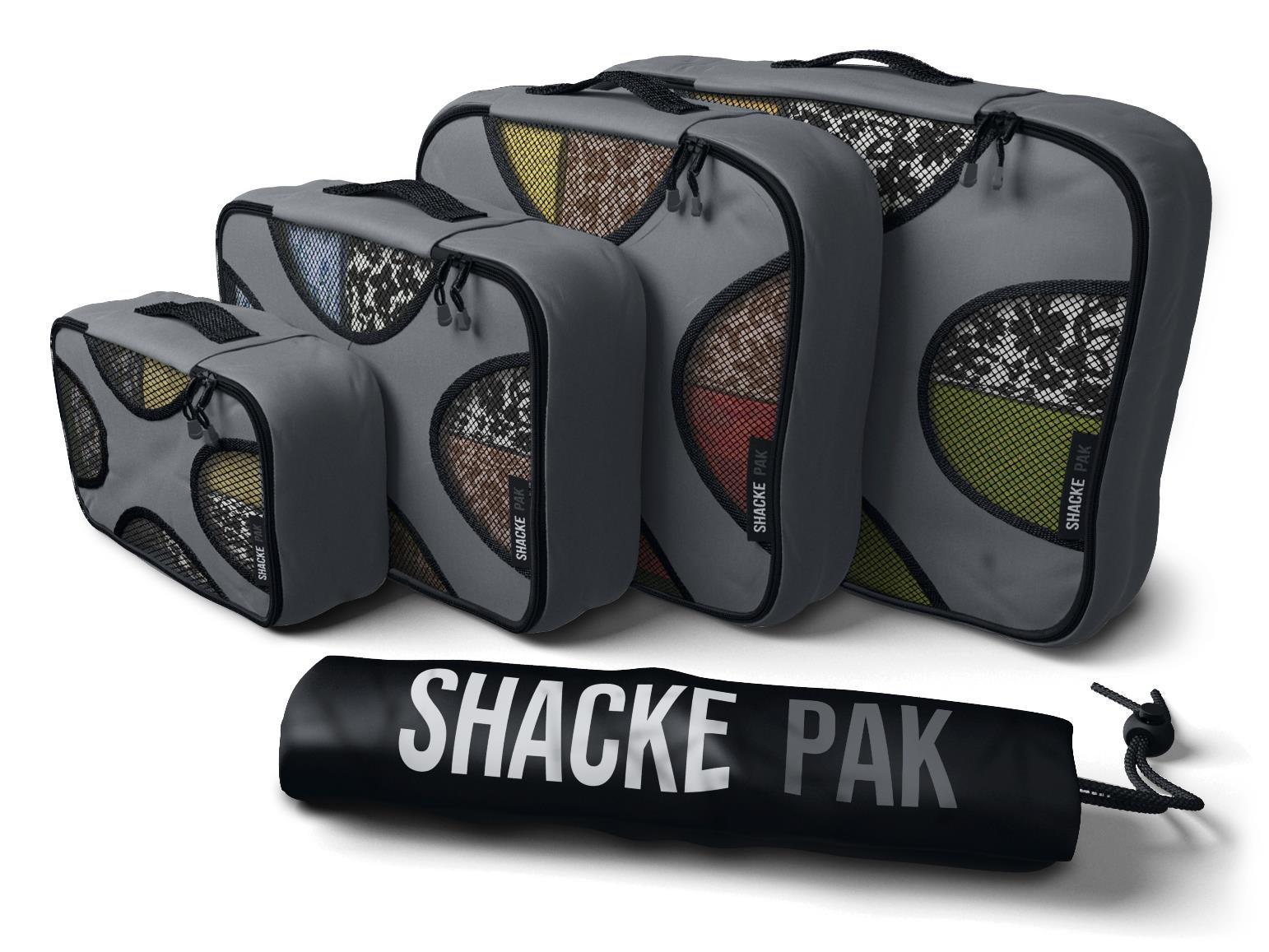 Shacke Pak - 4 Set Packing Cubes - Travel Organizers with Laundry Bag (Dark Grey) by Shacke