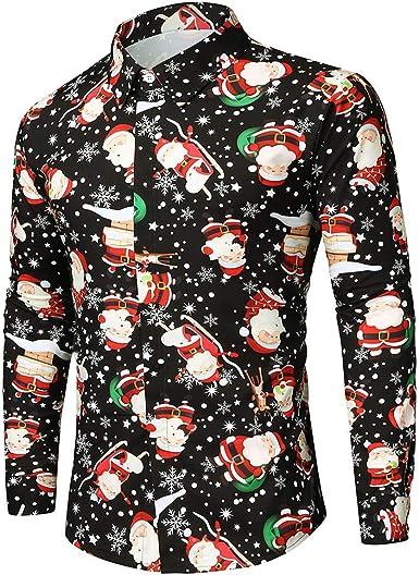 Hombre Camisas Navidad, Manga Larga Casual Unisex Pareja ...