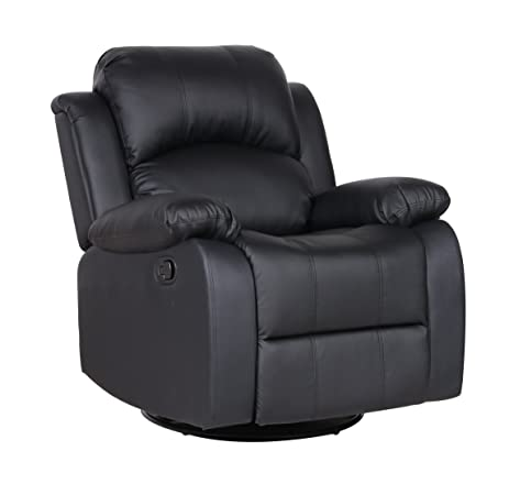 Amazon.com: Bonded Leather Rocker and Swivel Recliner Living Room ...
