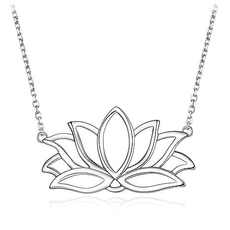 Amazon.com: Plata de Ley 925 Flor de loto Yoga encanto ...