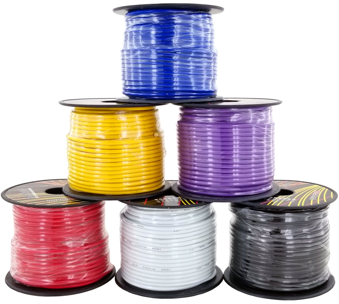 16 Gauge 6 Color Primary Wire Combo Pack 100 ft per Roll (600 feet Total) for Automotive Dash Harness Hookup Car Speaker Audio Amplifier Remote Model Train LED Light Wiring by GS Power