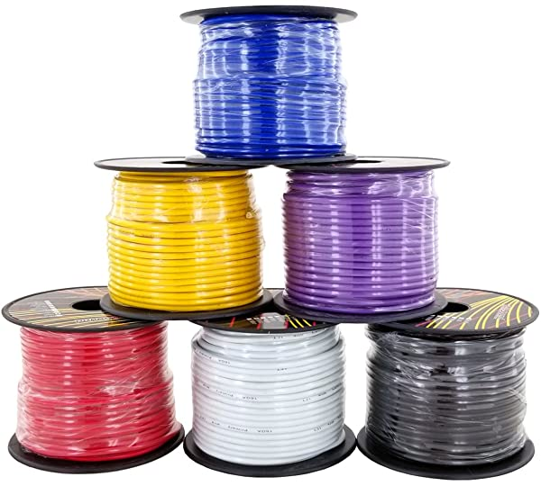 GS Power's 16 Gauge Ga, 6 Rolls of 100 Feet (total of 600 ft) Car Audio Video Primary Remote Turn on Hook up Trailer Wire (Cable Color Set: Red, Black, Blue, Yellow, White, Purple)