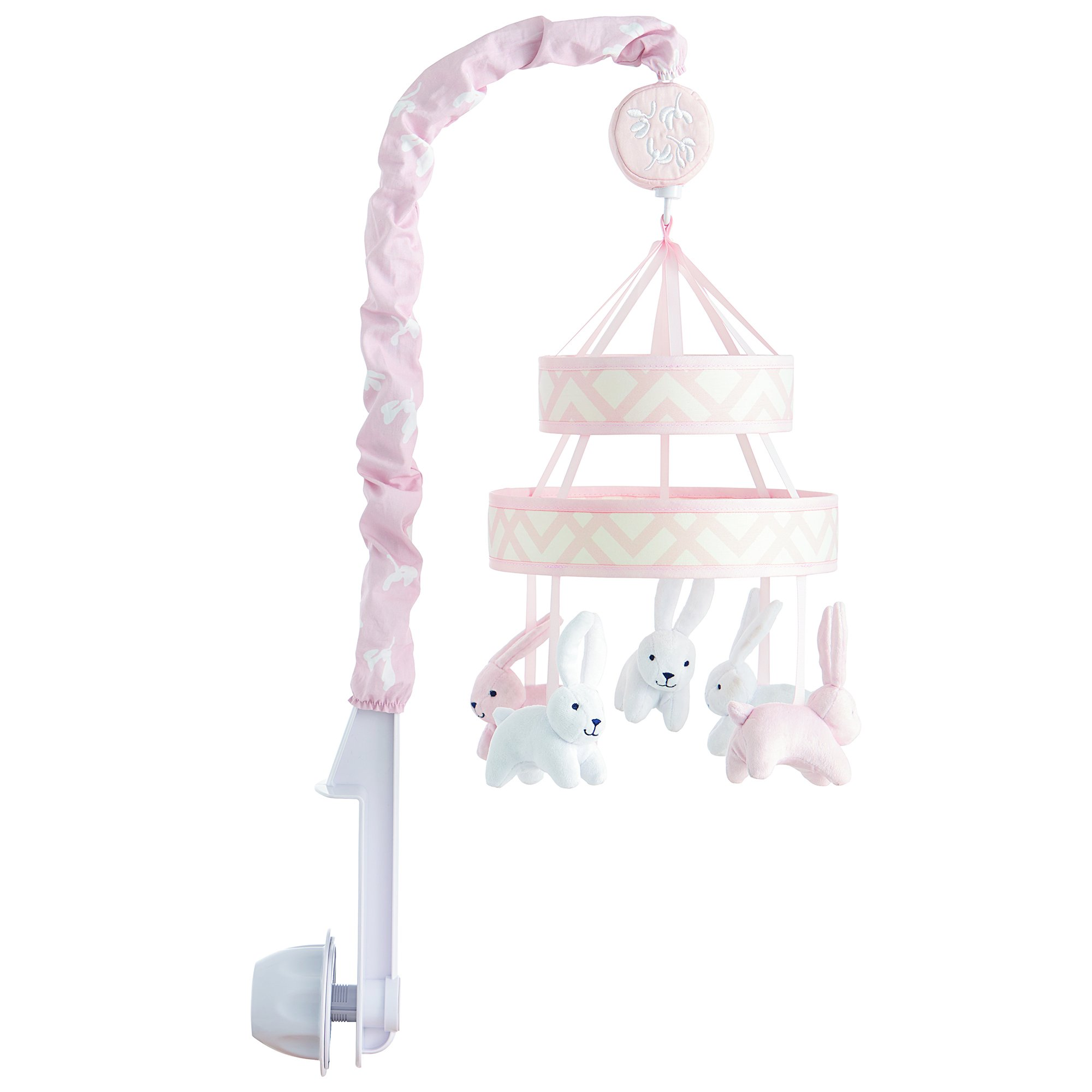 Ivanka Trump Wildflower Collection: Baby Mobile Crib Mobile Musical Mobile - Bunny Mobile in Pink/White
