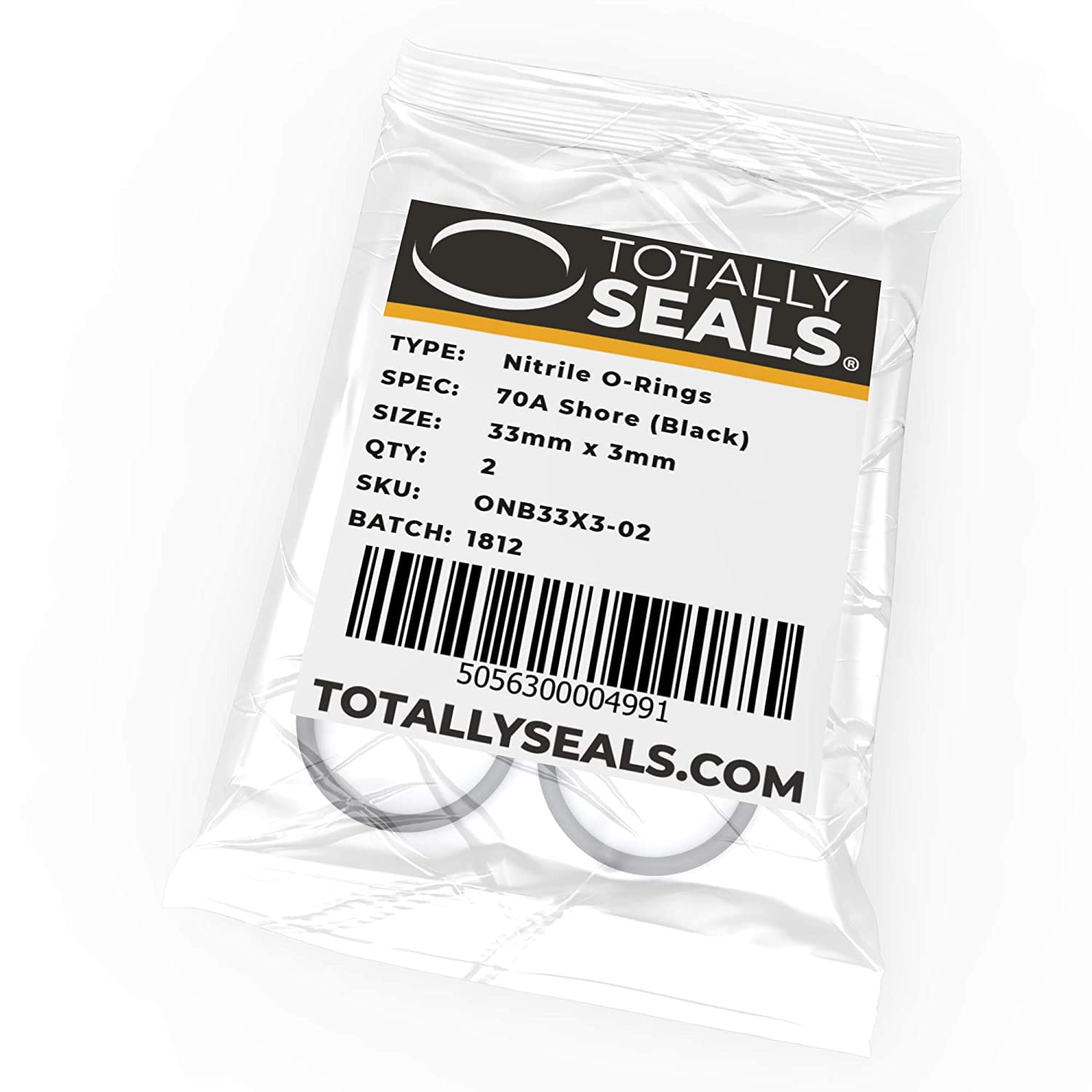 33mm x 3mm (39mm OD) Nitrile Rubber O-Rings 70A Shore Hardness - Pack of 10