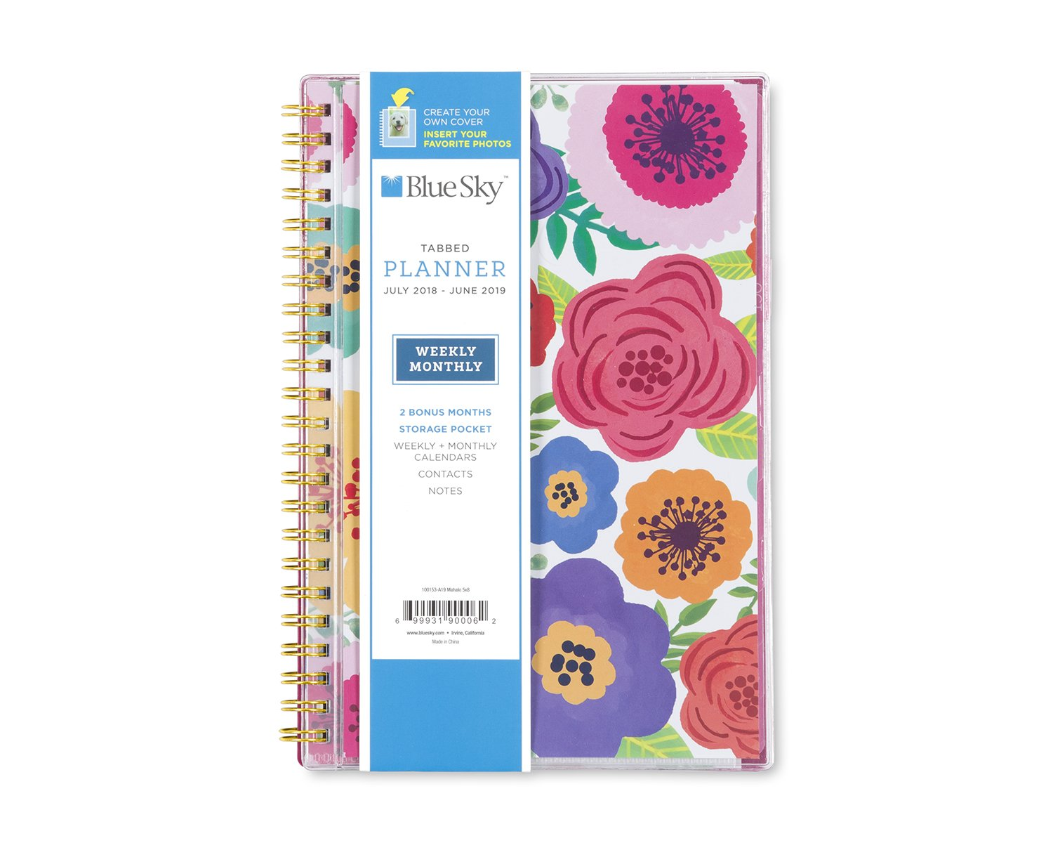 Blue Sky 2018-2019 Academic Year Weekly & Monthly Planner, Flexible Cover, Twin-Wire Binding, 5'' x 8'', Mahalo