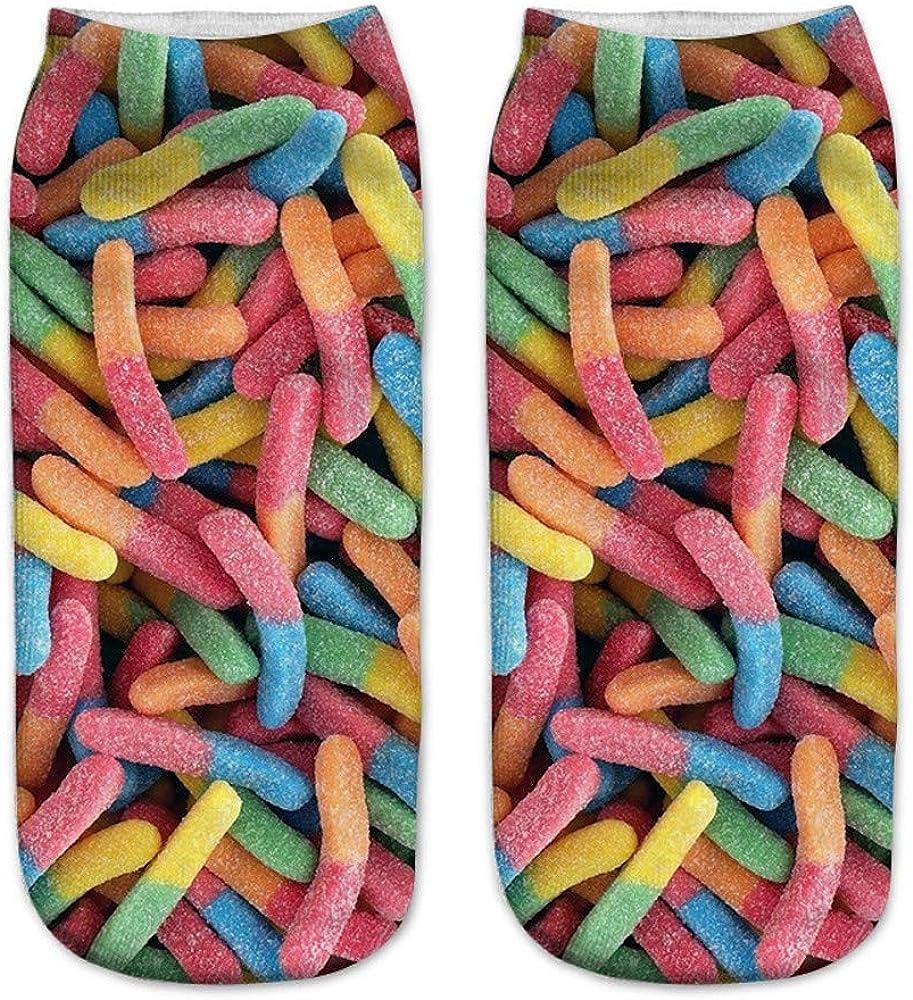 SALUCIA Unisex Socks S/ü/ße Cartoon S/ü/ßigkeiten Nutella 3D Druck Socken Lustige Kn/öchel F/ü/ßlinge Kurze Socken f/ür Damen und Herren