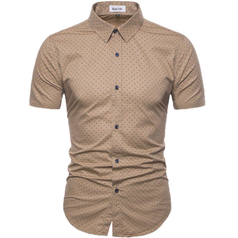 MUSE FATH Men's Printed Dress Shirt-100% Cotton Casual Short Sleeve Shirt- Button Down Point Collar Shirt-KHAKI-2XL