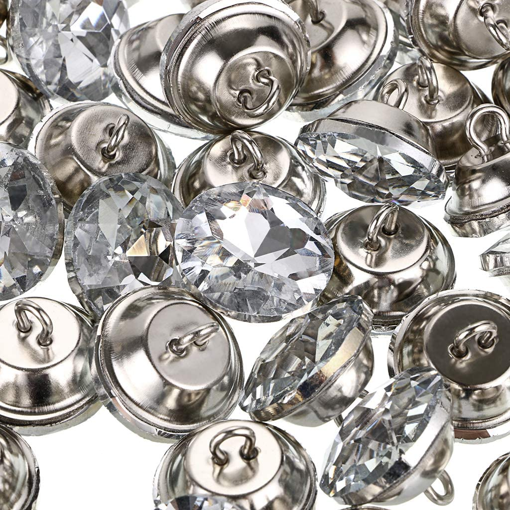 OwnMy 50 PCS Rhinestone Crystal Buttons Clear Tufting Buttons Upholstery Buttons with Metal Loop Buttons for Sewing Sofa Bed Headboard DIY Crafts Decoration 25MM x 50 PCS