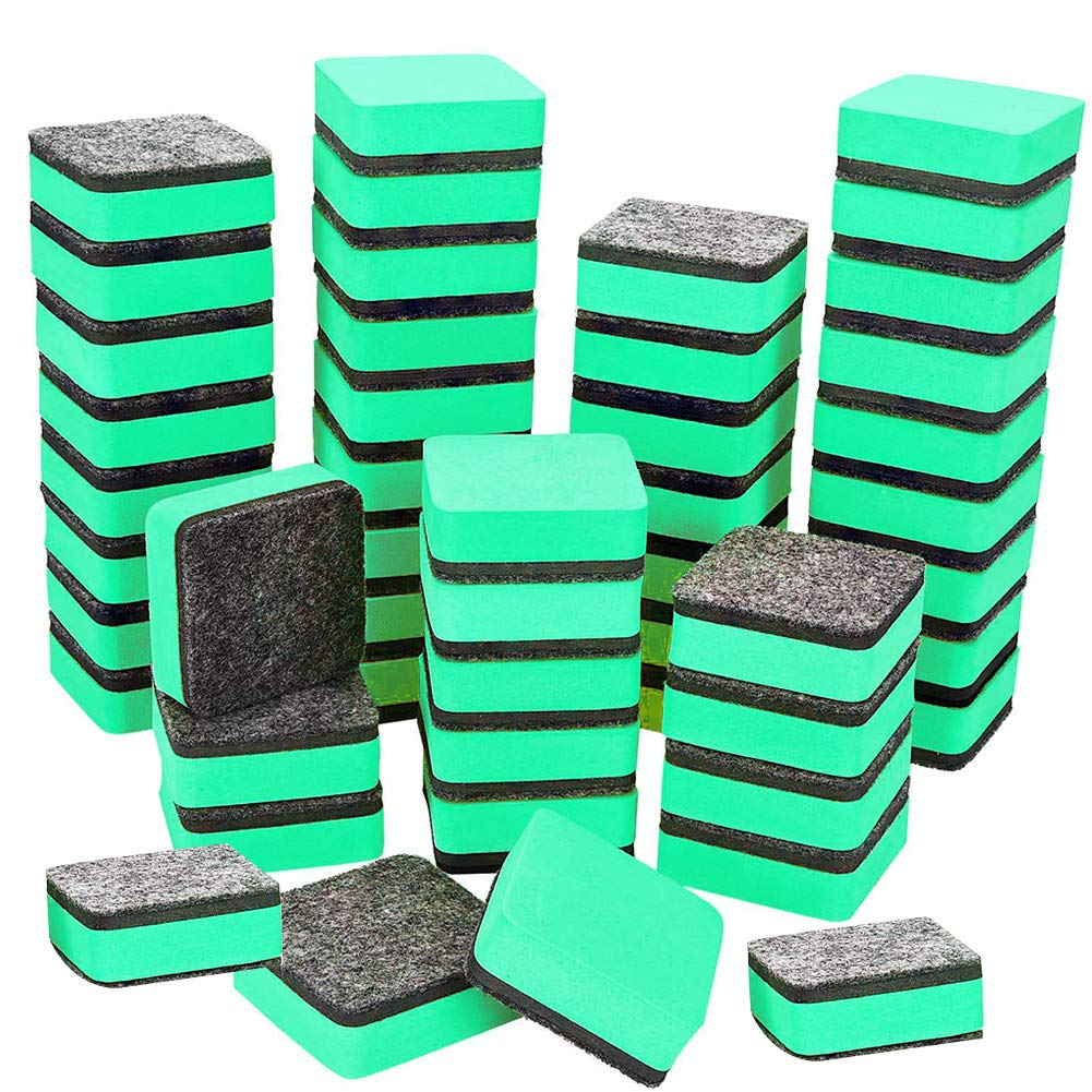 Magnetic Dry Erase Erasers, 48 Pack Mini Cute Chalkboard Whiteboard Dry Erasers Cleaner For Home, Office, School Classroom Teacher, Green