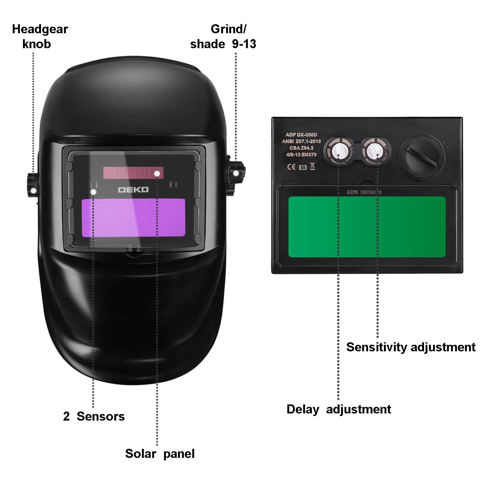 DEKOPRO Auto Darkening Solar Welding Helmet ARC TIG MIG Weld Welder Lens Grinding Mask New Black Design by DEKOPRO (Image #2)