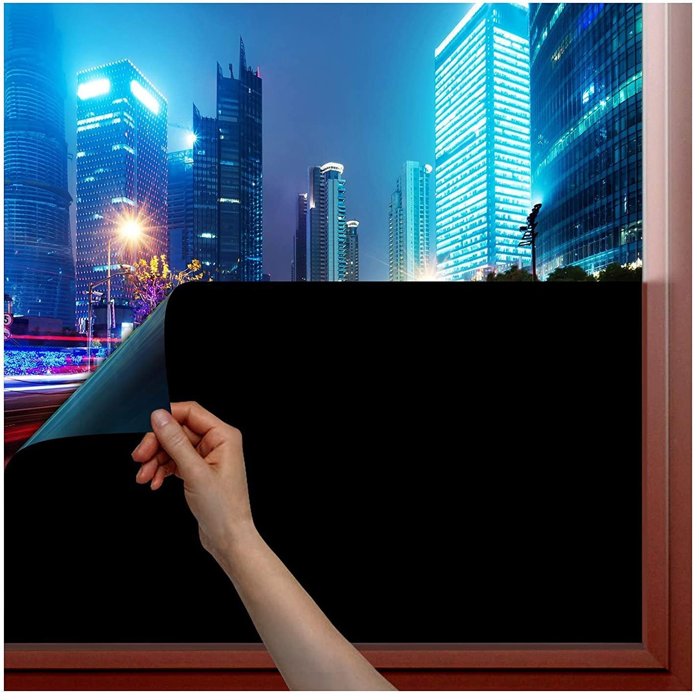 LOKHOM Blackout Window Film, Easy Removal, Anti UV 100% Light Blocking Frosted Window Privacy Film, Self-Adhesive Room Darkening Static Cling Window Tint for Home/Office(17.7inch x 6.5feet)