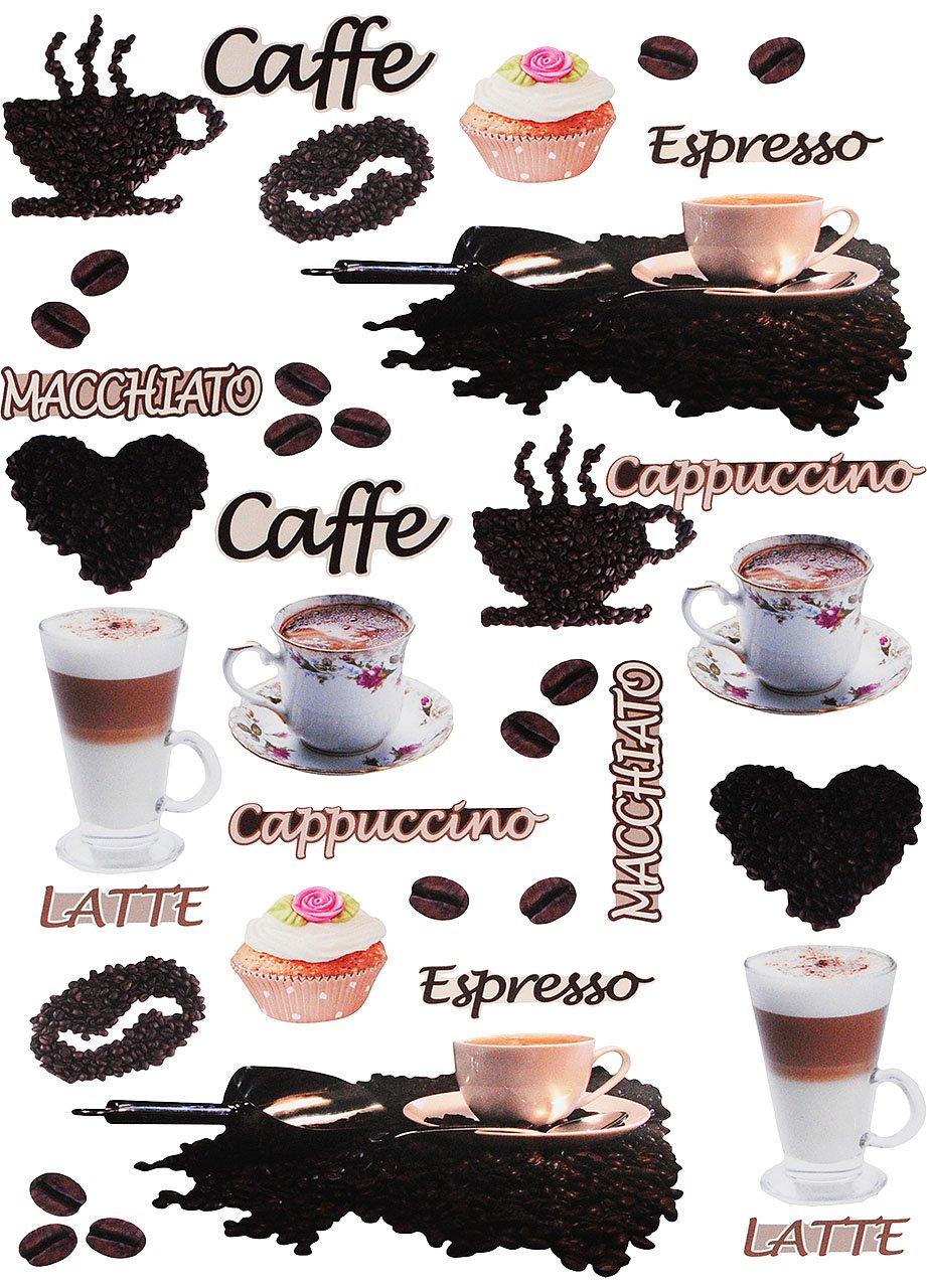 alles-meine.de GmbH 38 TLG. Set _ XL Fensterbilder - Kaffee / Espresso - Latte & Cappuccino - incl. Name - Sticker Fenstersticker Aufkleber - selbstklebend + wiederverwendbar..