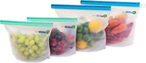 EcoStow Reusable Silicone Food Storage Bags - 2 Large, 2 Medium | Sandwich, Liquid, Snack, Lunch, Freezer | Airtight, Dishwasher Safe, Microwave Safe, Leak Proof