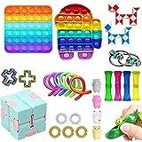 Komoo Fidget Toys Pack, Sensory Fidget Toys Push Pop Bubble Fidget Sensory Toy Stress Anxiety Relief Toys Set for ADHD…