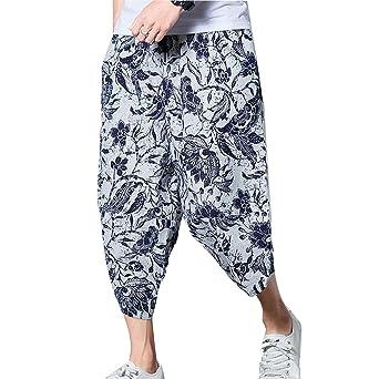 Juleya Pantalones Hombre Verano Pantalones de Playa Suaves Transpirables  Pantalones de Harem Sueltos con Cordón Pantalones Longitud 3 4 Pantalones  Casuales ... 2f97aab2b79b
