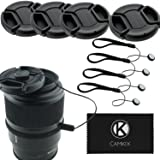 Lens Cap Bundle - 4 Snap-on Lens Covers for DSLR Cameras Including Nikon, Canon, Sony - Lens Cap Keepers Included (58mm)