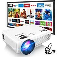 "DR. J Professional HI-04 Mini Video Projector, 100"" Projector Screen Included &1080P Supported, Portable Outdoor Movie Projector"