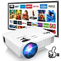DR. J Professional HI-04 Mini Projector Outdoor Movie Projector with 100Inch Projector Screen, 1080P Supported Compatible with TV Stick, Video Games, HDMI,USB,TF,VGA,AUX,AV [Latest Upgrade]