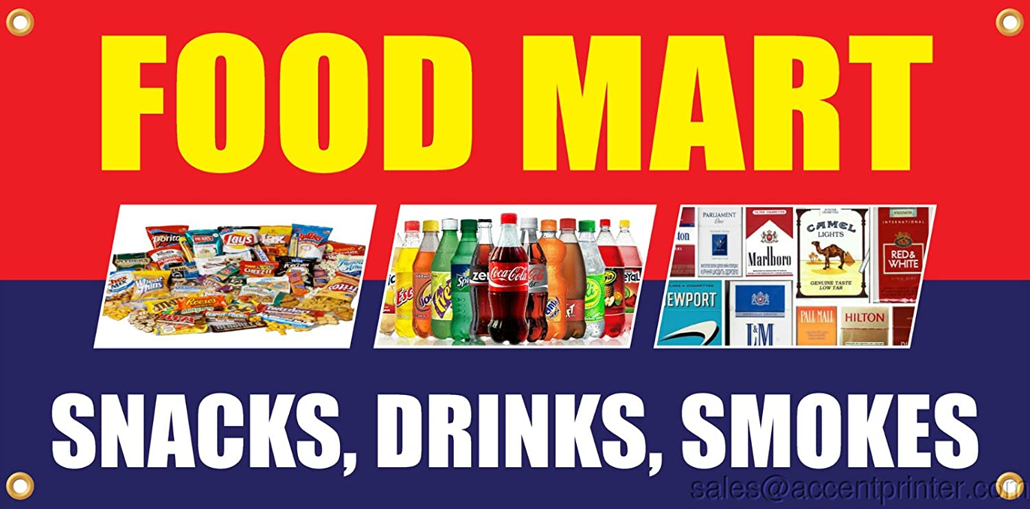 Food Mart Vinyl Display Banner with Grommets, 3'hx6'w, Full Color