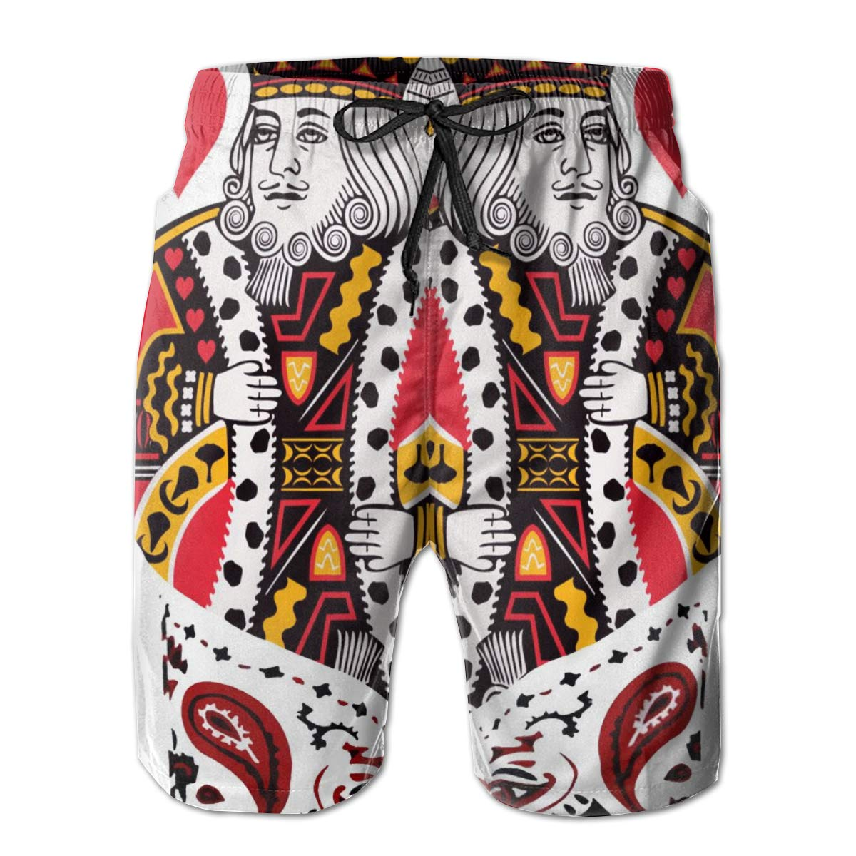 HHHDAM Men Swim Trunks Poker Card Beach Wear Swim Casual Sports Shorts Quick Dry Swimwear for Summer
