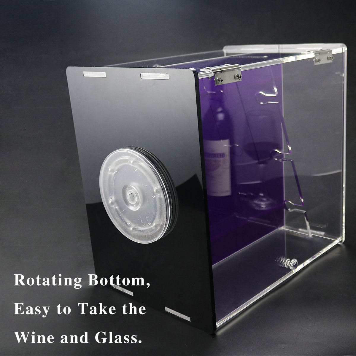 Deluxe Wine Storage Rack, Clear Acrylic Wine Cabinets With Glass Holder Countertop, Wine Rack Organizer With 3 Bottle Holder and 3 Glass Rack,Dustproof Box,Rotating Base (DYC-WDB001)
