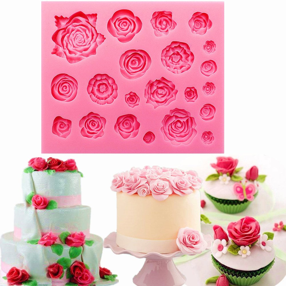 Sakolla 21 Cavity Roses Fondant Silicone Mold Candy Molds for Sugarcraft Cake Decoration Cupcake Topper Polymer Clay Soap Wax Making Crafting Projects