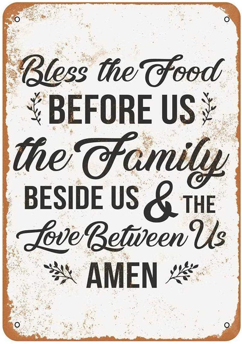 Bless The Food, The Family and The Love 2 Metal Tin Sign Aluminum Signage Advertising Art Plaque Posters Vintage Retro Style Wall Stickers Hanging Pub Store Designs 8x12 Inch
