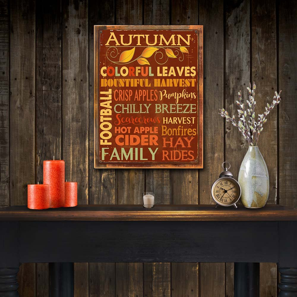 Harvest Homebody Accents HB7242 Thanksgiving Autumn Fall Autumn Words Subway Metal Sign Kitchen D/écor