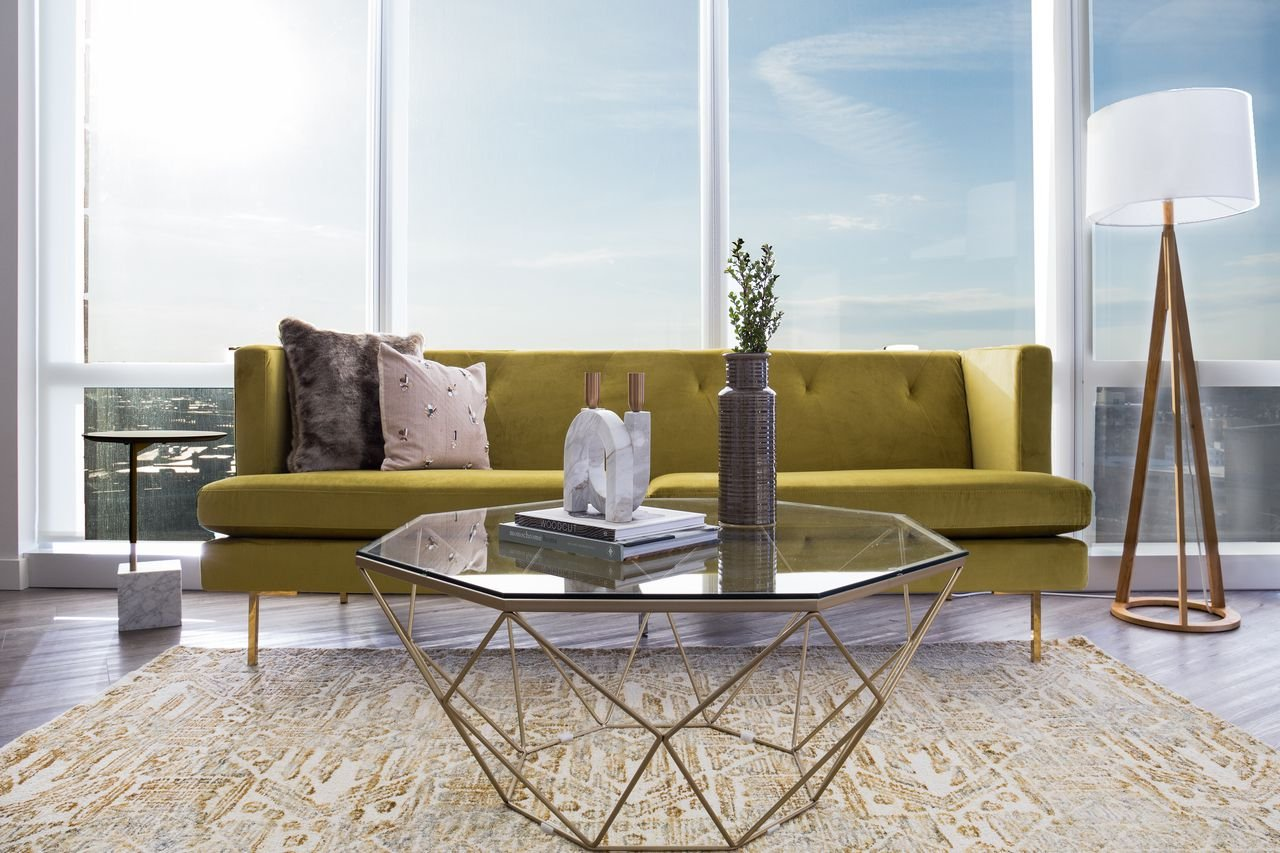 LUNA Modern Glass Coffee Table – Gold Coffee Tables for Living Room – Clear Glass Top