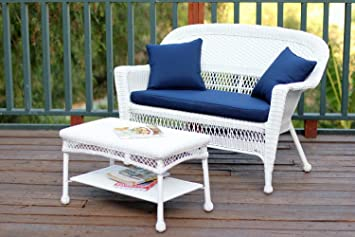 2 Piece Aurora White Resin Wicker Patio Loveseat And Coffee Table Furniture  Set   Blue