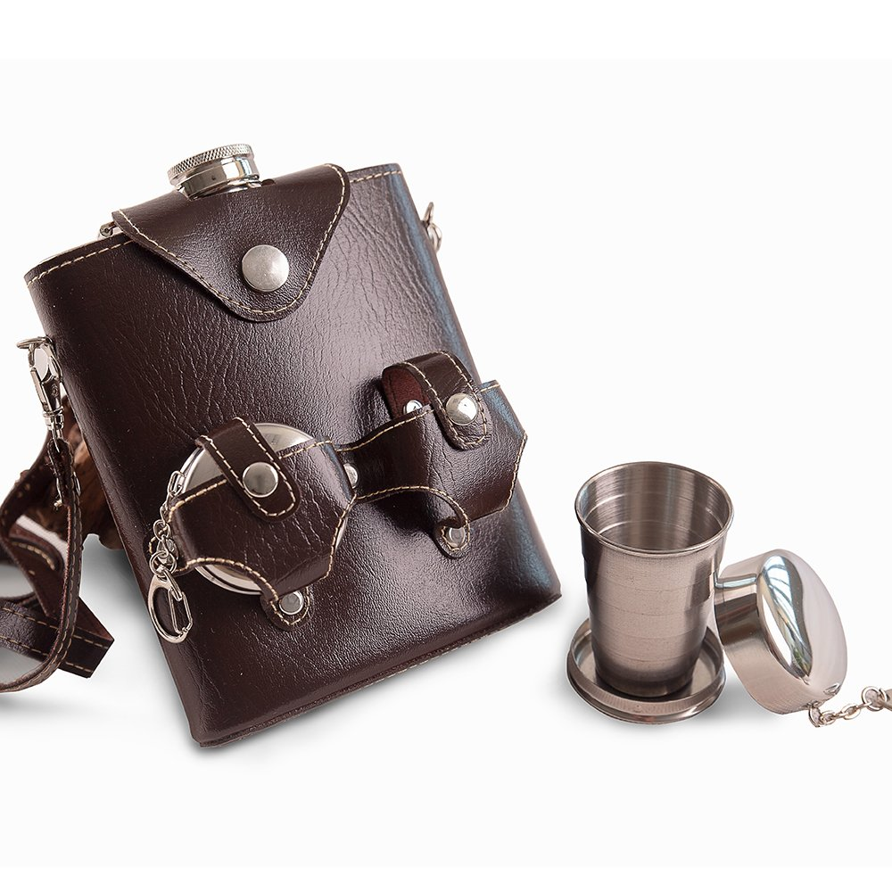 Mealivos 18 oz 18/8 Stainless Steel Portable Hip Flask with leather Case and 2 Folding Cups