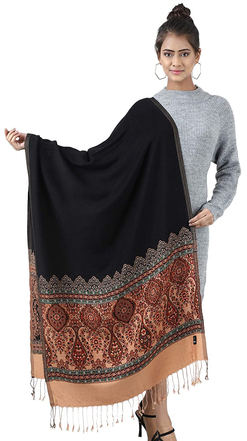 Women/'s Jamawar StoleShawl With Contrast Border Color for Winter