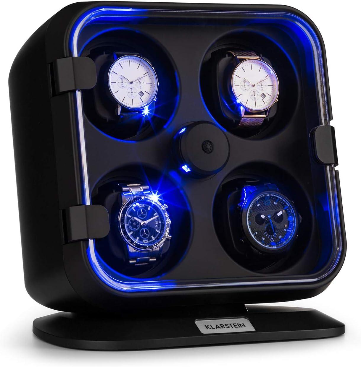 KLARSTEIN Clover Estuche Relojes - 4 Relojes - 3 Modos de rotación - 4 Velocidades - Iluminación LED - Almohadilla Desmontable - Puerta Delantera transprente - Mecanismo de tensión de Resorte - Negro