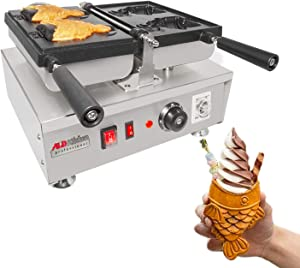 ALDKitchen Taiyaki Iron | Electric Taiyaki Machine | 2 Open-Mouth Fish Shaped Waffle Cones | Stainless Steel Professional | Nonstick Coating | Manual Control | 110V | 1560W