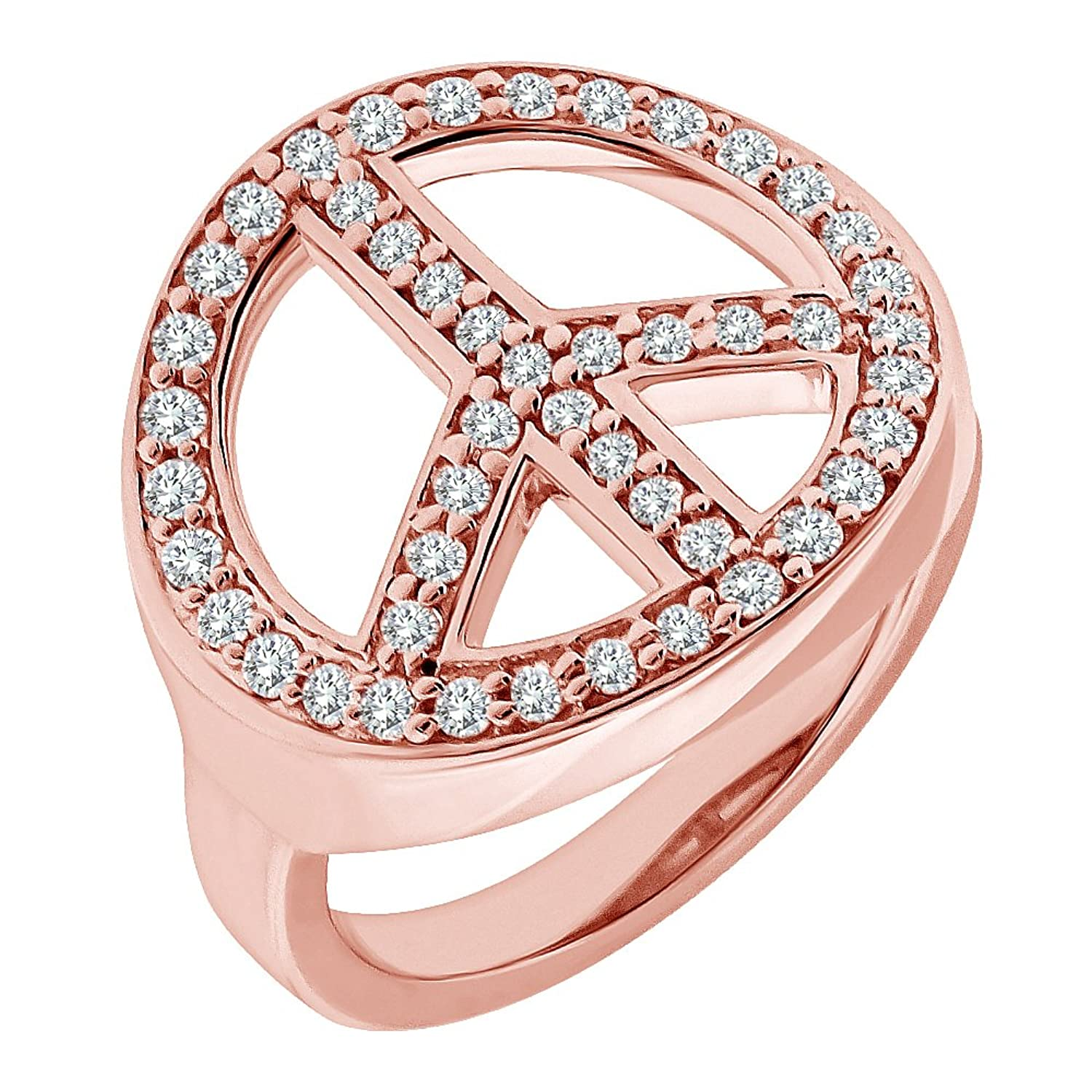 0.75 Carat G-H Diamond Peace Sign Beautiful Fancy Mens Women Charm ...