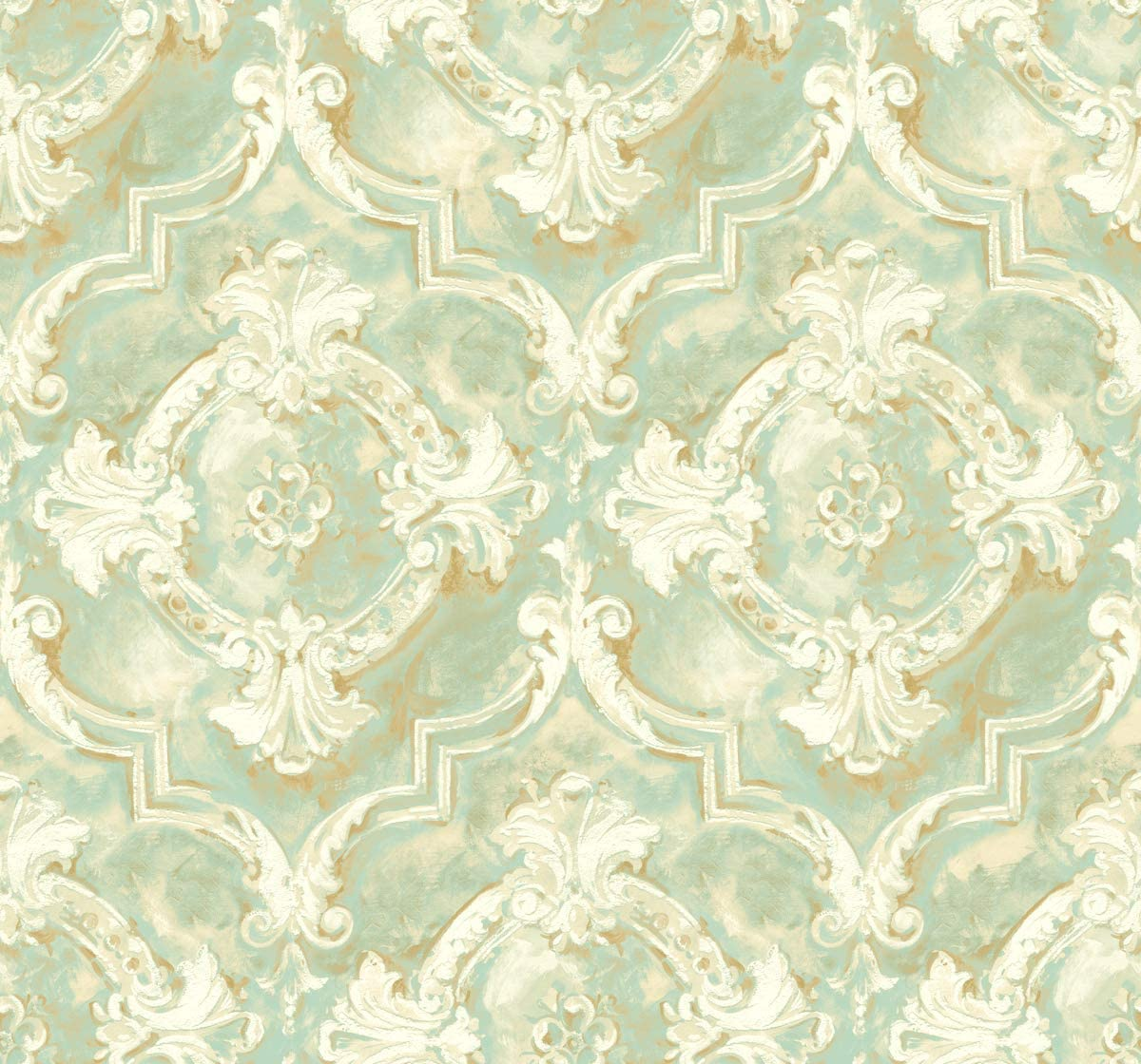 Victorian Damask Wallpaper Blue Gold Green Cream Vintage Style