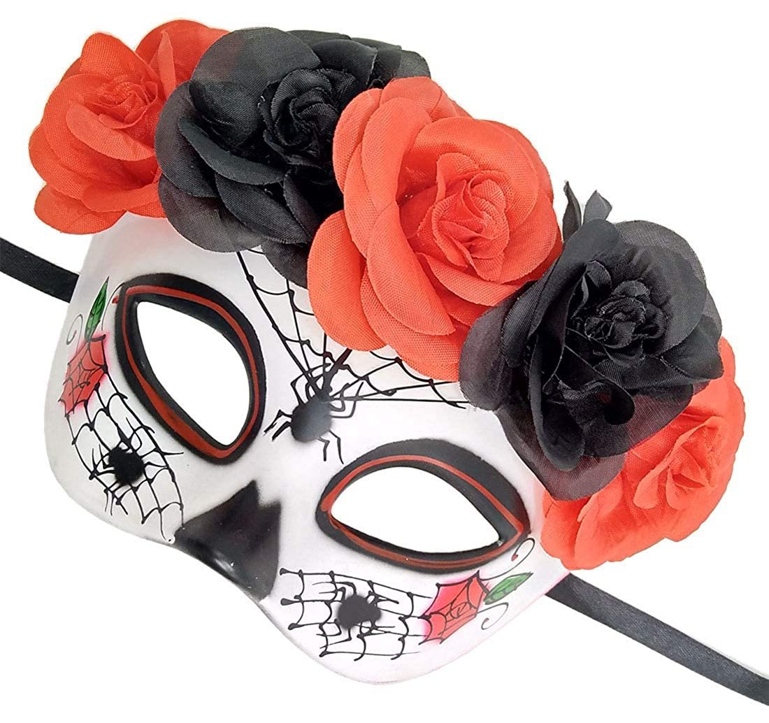 Womens Masquerade Mask Mexican Day of The Dead Sugar Skull Eyemask Masque Fancy Dress