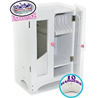 Matty's Toy Stop 18 Inch Doll Furniture White Wooden Armoire Closet with 10 Hangers - Fits American Girl Dolls