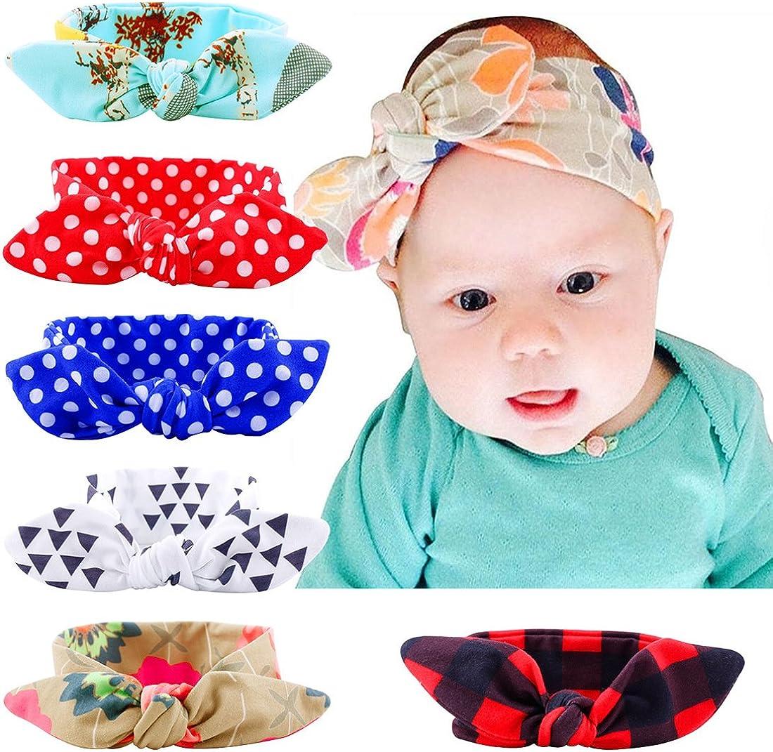 Flyfish - Juego de 6 diademas en colores variados para niña y bebé, anudado con un lazo, diadema estilo turbante, para atrezo de fotografía, disfraz, fiesta