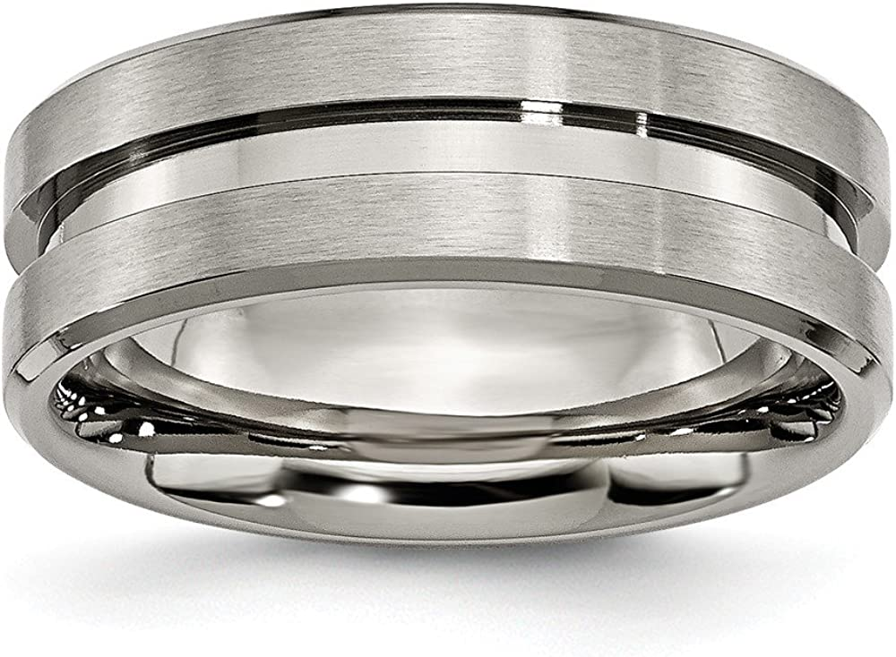 Titanium Grooved 8mm Brushed and Polished Band Size 10.5 Length Width 8