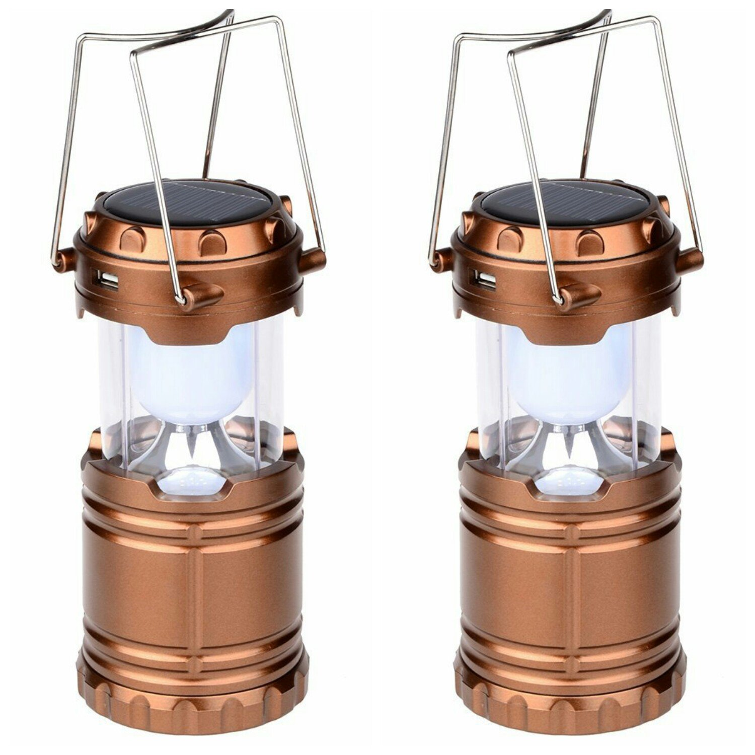 Camping Solar Lanterns,- Solar/DC Rechargeable - Water Resistant - Shock Proof - Battery Powered Ultra Bright LED Camping Lamp for Outdoor Camping,Hiking,Emergencies,Power Outages (Bronze, 2-Pack) by ABC