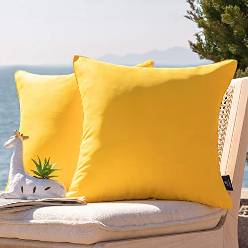 Phantoscope Pack of 2 Outdoor Waterproof Throw Pillow Covers Decorative Square Outdoor Pillows Cushion Case Patio Pillow