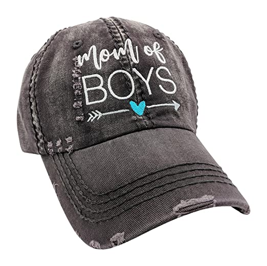 6c12bb76 Loaded Lids Women's, Customized, Mom of Boys, Mom Baseball Cap (Grey ...