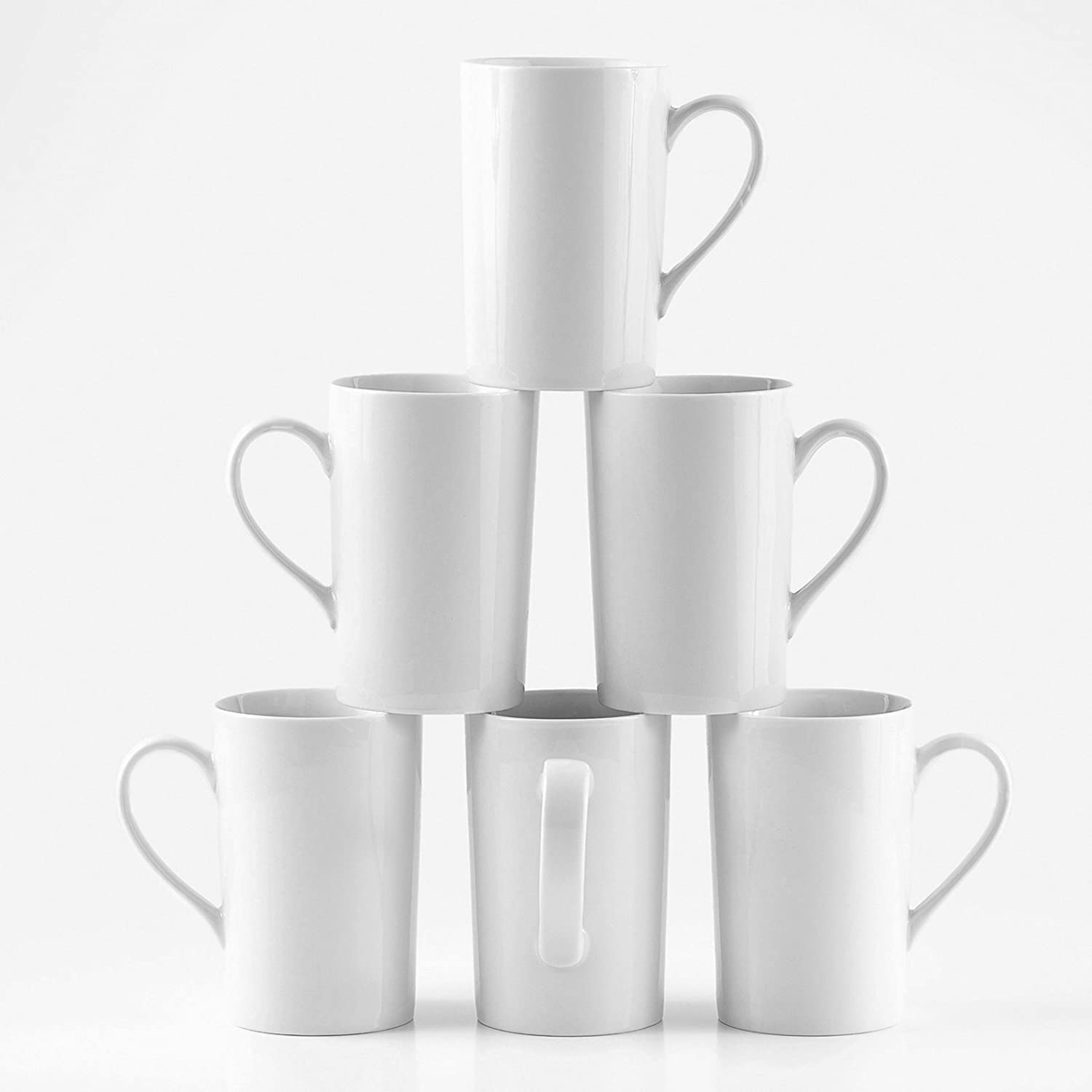 Amuse- Professional Barista Tall Mug for Coffee, Tea or Latte- Set of 6-12 oz.