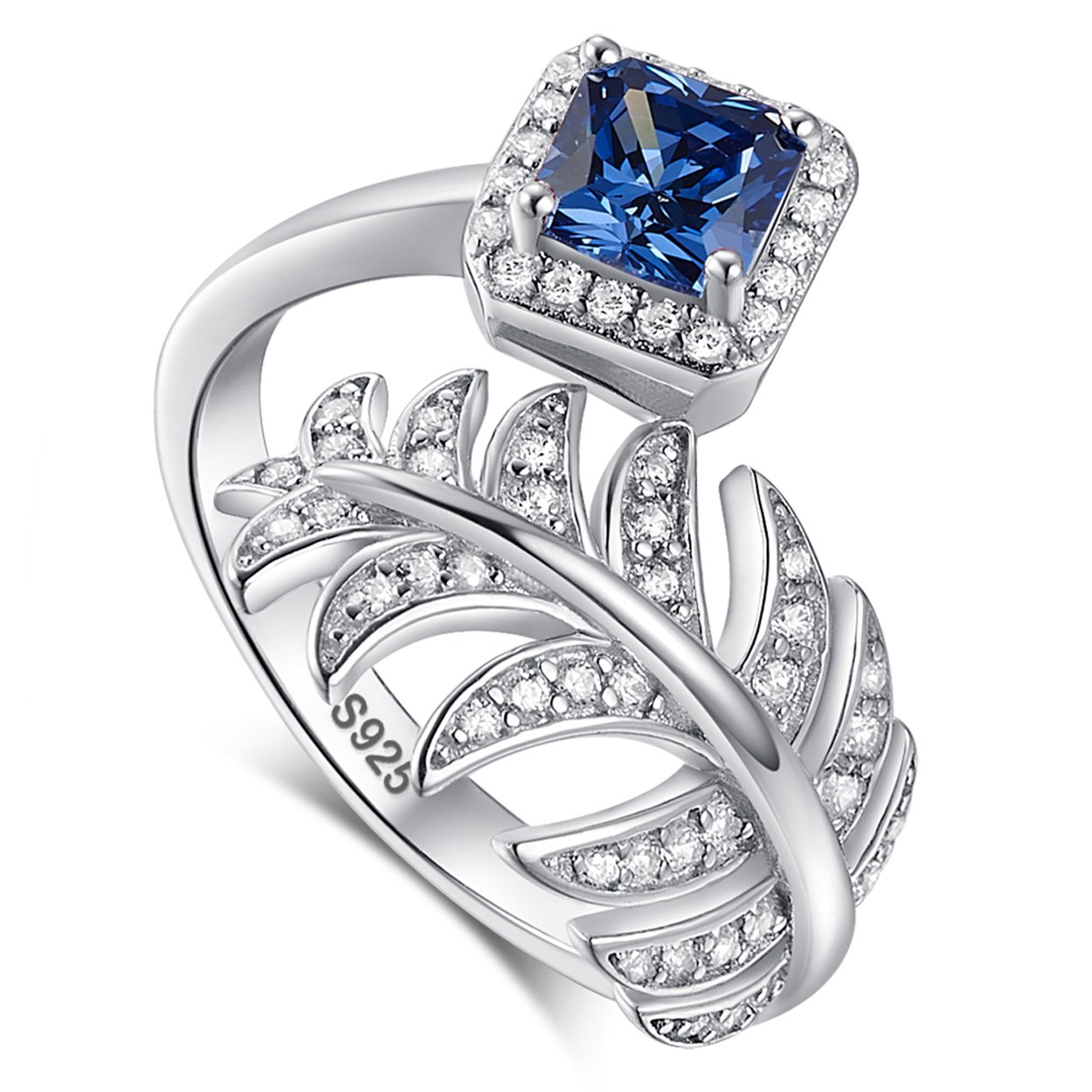 Jearls Womens 925 Sterling Silver Created Tanzanite Ring