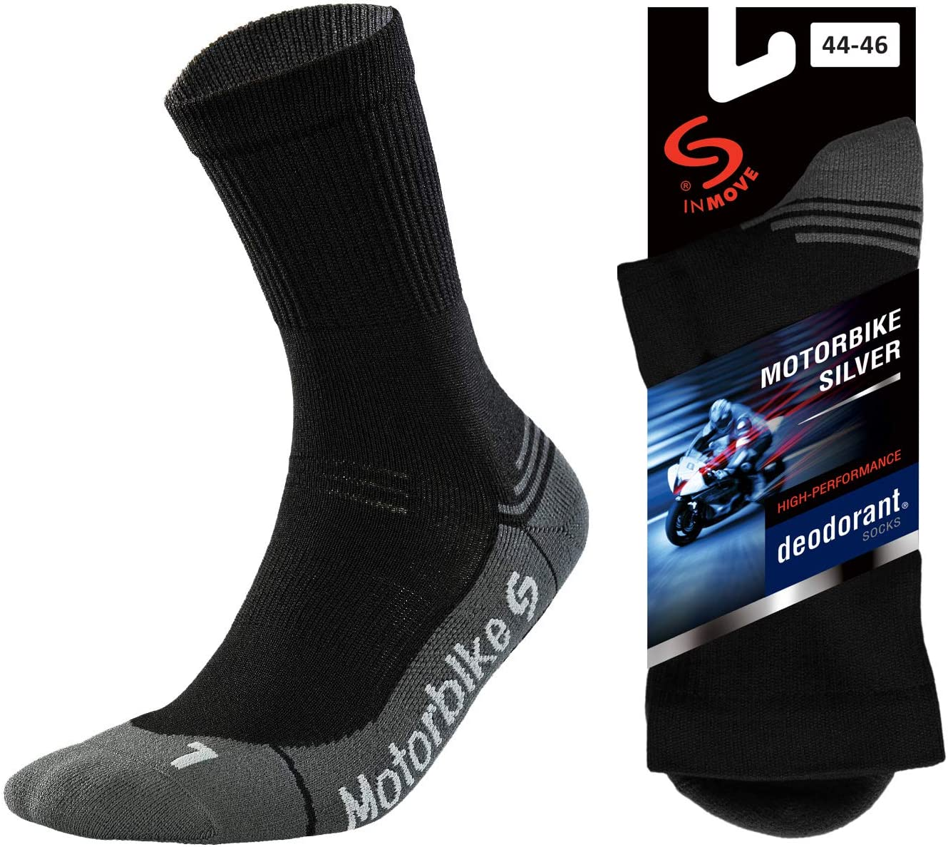 7-9, 1 pair - Black TODO Motorbike Socks for Men Light Breathable Calf Motorcycle Socks with Silver